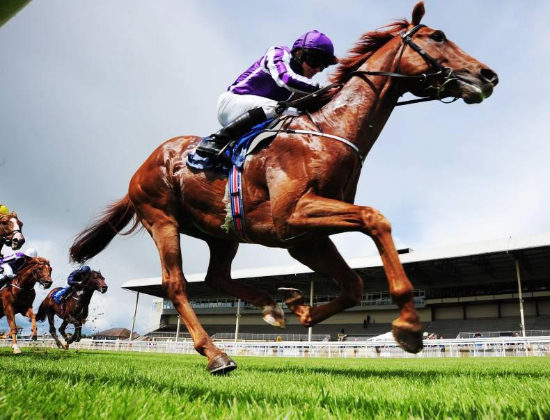 CURRAGH SUNDAY: Beacon Rock toughs it out from the front