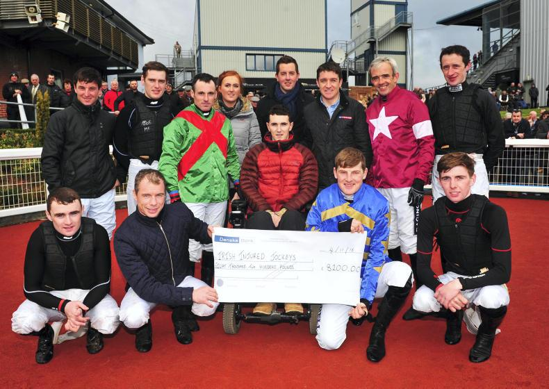 VIEW FROM ABOVE: Bright and Magee present cheque to Irish Injured Jockeys