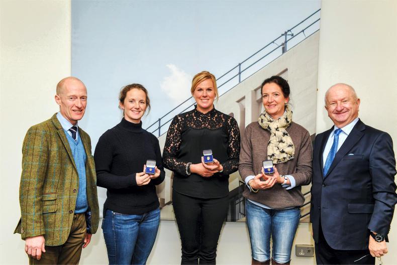 FEI GOLD BADGES:  Judy Reynolds, Heike Holstein and Anna Merveldt honoured